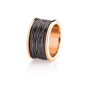 Ring-Rose gold coil with black rodium wire