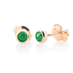 Round yellow gold earrings with colorful zircons - large