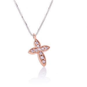 Diamond necklace with a cross