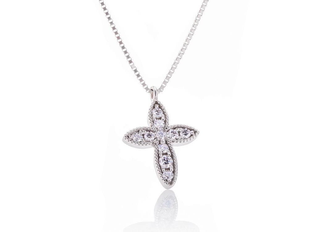 Diamind white gold necklace with a cross